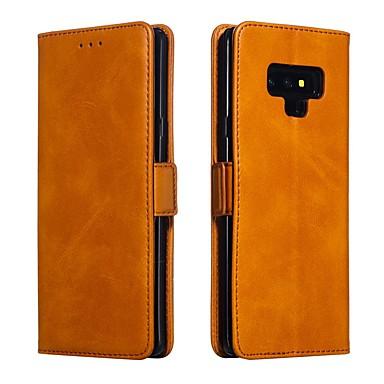 Недорогие Чехлы и кейсы для Galaxy Note-Кейс для Назначение SSamsung Galaxy Note 9 / Note 8 Кошелек / Бумажник для карт / Защита от удара Чехол Однотонный Твердый Кожа PU