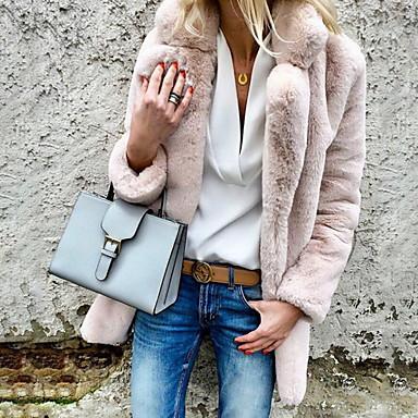 povoljno Ženski kaputi i ostalo-Žene Dnevno Osnovni Jesen zima Veći konfekcijski brojevi Normalne dužine Faux Fur Coat, Jednobojni Kragna košulje Dugih rukava Umjetno krzno Svijetlosiva / Obala / Blushing Pink