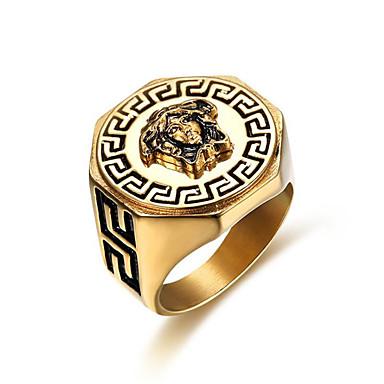 رخيصةأون خواتم-رجالي خاتم 1PC ذهبي الصلب التيتانيوم Geometric Shape أنيق هدية مناسب للبس اليومي مجوهرات كلاسيكي شجاعة كوول