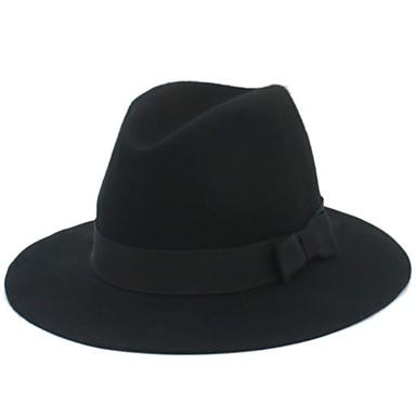 رخيصةأون قبعات الرجال-الصيف الخريف أسود فوشيا أحمر قبعة الدلو قبعة فيدورا قبعة شمسية لون سادة رجالي نسائي قطن مزيج من الصوف,أساسي الثلاثينات