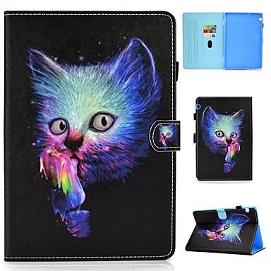 رخيصةأون Huawei أغطية / كفرات-غطاء من أجل Huawei Huawei Mediapad T5 10 حامل البطاقات / ضد الصدمات / مع حامل غطاء كامل للجسم قطة قاسي جلد PU