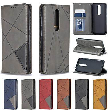 Недорогие Чехлы и кейсы для Nokia-Кейс для Назначение Nokia Кошелек / Бумажник для карт / Защита от удара Чехол Однотонный / Геометрический рисунок Кожа PU