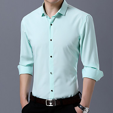 رخيصةأون قمصان رجالي-رجالي عتيق / أساسي قطن قميص, لون سادة