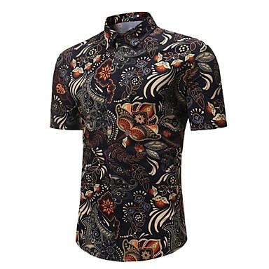 voordelige Herenoverhemden-Heren EU / VS maat - Overhemd Bloemen Zwart / Korte mouw
