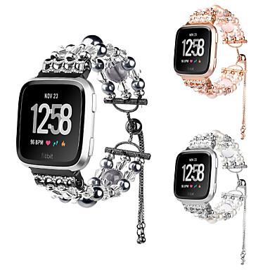 voordelige Smartwatch-accessoires-voor fitbit versa / versa lite handgemaakte faux parels juwelen kristal agaat vervanging roestvrij stalen band polsbandje