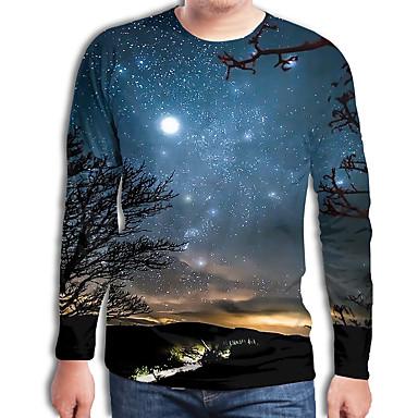 abordables Camisetas y Tops de Hombre-Hombre Chic de Calle / Punk & Gótico Estampado Camiseta Galaxia / Bloques / 3D Azul Piscina