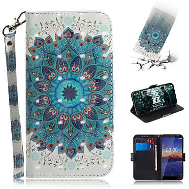 Недорогие Чехлы и кейсы для Nokia-Кейс для Назначение Nokia Nokia Кошелек / Бумажник для карт / со стендом Чехол Цветы Кожа PU