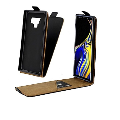 Недорогие Чехлы и кейсы для Galaxy Note-Кейс для Назначение SSamsung Galaxy Note 9 / Note 8 Бумажник для карт / Защита от удара / Флип Чехол Однотонный Твердый Настоящая кожа