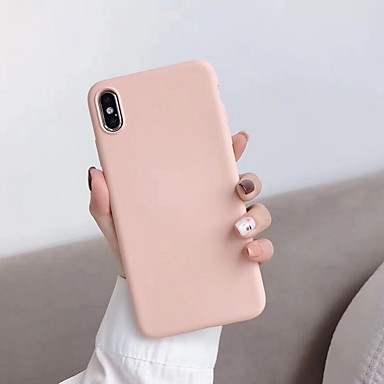 cheap iPhone Cases-Case For Apple iPhone XS / iPhone XR / iPhone XS Max Shockproof Back Cover Solid Colored Soft Silica Gel