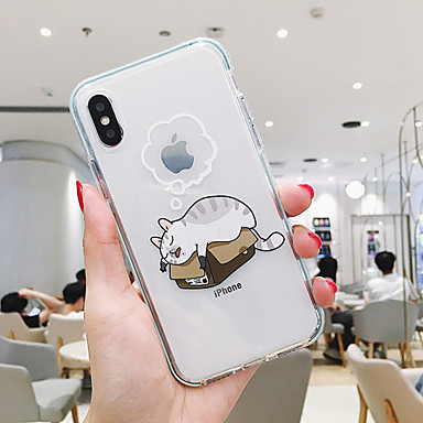 voordelige iPhone-hoesjes-hoesje Voor Apple iPhone XR / iPhone XS Max / iPhone X Stofbestendig / Transparant / Patroon Achterkant Kat / Hond TPU