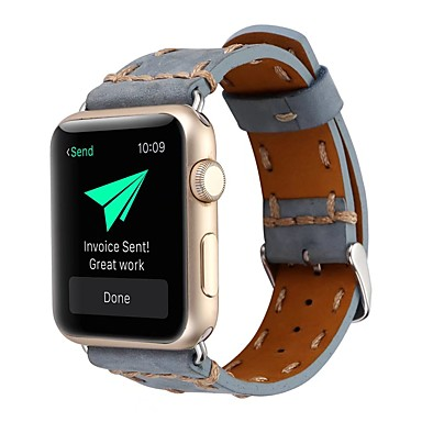 Недорогие Аксессуары для смарт-часов-ремешок для часов для Apple Watch серии 4/3/2/1 яблоко классическая пряжка нейлон / ремешок из натуральной кожи