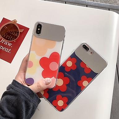 voordelige iPhone 6 Plus hoesjes-hoesje Voor Apple iPhone XS / iPhone XR / iPhone XS Max Schokbestendig / Spiegel / Patroon Achterkant Bloem TPU