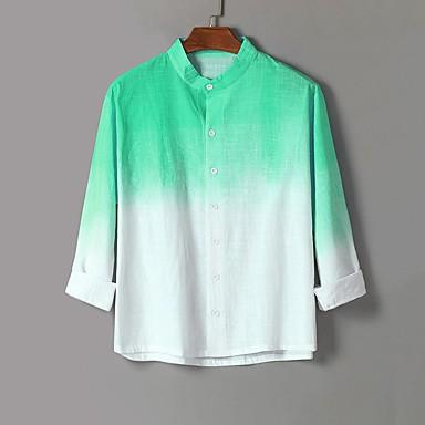 رخيصةأون قمصان رجالي-رجالي بوهو قياس كبير - كتان قميص, تاي داي ياقة كلاسيكية / كم طويل