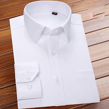 رخيصةأون قمصان رجالي-رجالي عمل أساسي بقع قميص, لون سادة ياقة مع زر سفلي / كم قصير