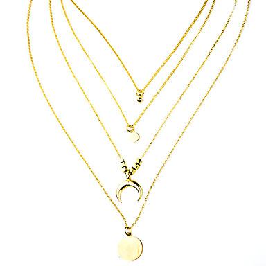رخيصةأون قلادات-نسائي القلائد الطبقات تكويم MOON شائع كروم ذهبي 63 cm قلادة مجوهرات 1PC من أجل مناسب للبس اليومي مهرجان