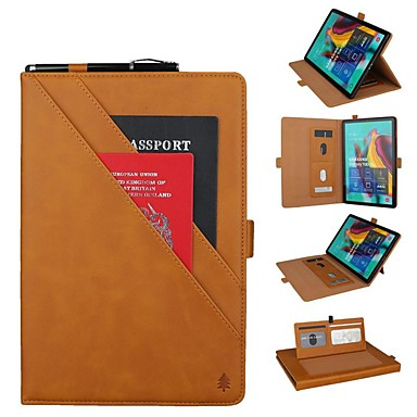 cheap Tablet Cases-Case For Samsung Galaxy Samsung Tab S5e T720 10.5 / Samsung Tab A 10.1(2019)T510 Wallet / Card Holder / Shockproof Full Body Cases Solid Colored Hard Genuine Leather