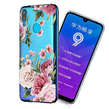 voordelige Huawei Y-serie hoesjes / covers-hoesje Voor Huawei Huawei Nova 3i / Huawei nova 4e / Y7 Prime (2018) Schokbestendig / Transparant / Patroon Achterkant Bloem Zacht TPU