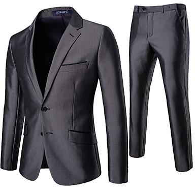 povoljno Gornji slojevi odjeće za muškarce-Muškarci odijela Klasični rever Poliester Sive boje