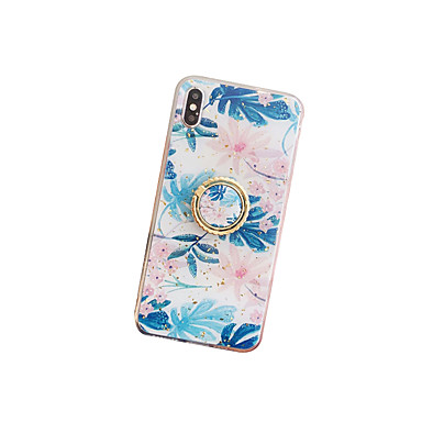 voordelige iPhone X hoesjes-hoesje Voor Apple iPhone XS / iPhone XR / iPhone XS Max Stofbestendig / Ringhouder / IMD Achterkant Bloem TPU