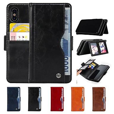Недорогие Кейсы для iPhone-чехол для iphone xr / iphone xs max flip / с подставкой / ударопрочный корпус корпуса линии / волны жесткая натуральная кожа для iphone xs / iphone x / iphone 8 plus / iphone 7p / iphone 6p / iphone 7