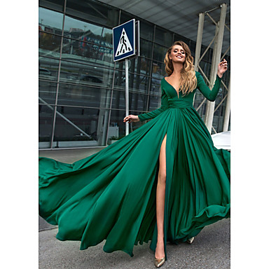 cheap Special Occasion Dresses-A-Line Plunging Neck Floor Length Chiffon Open Back Formal Evening Dress with Crystals / Split Front by LAN TING Express