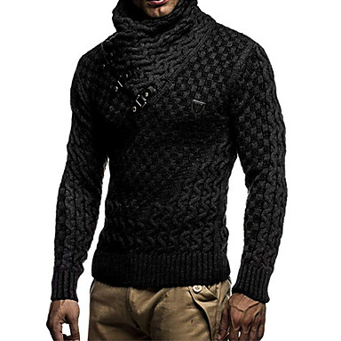 cheap Men's Sweaters & Cardigans-Men's Solid Colored Long Sleeve EU / US Size Pullover Sweater Jumper, Turtleneck Winter Black / White / Dark Gray US32 / UK32 / EU40 / US34 / UK34 / EU42 / US36 / UK36 / EU44