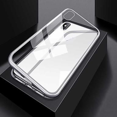 رخيصةأون حافظات / جرابات هواتف جالكسي S-غطاء من أجل Samsung Galaxy S9 / S9 Plus / S8 Plus شفاف / مغناطيس غطاء كامل للجسم لون سادة / شفاف ألمنيوم