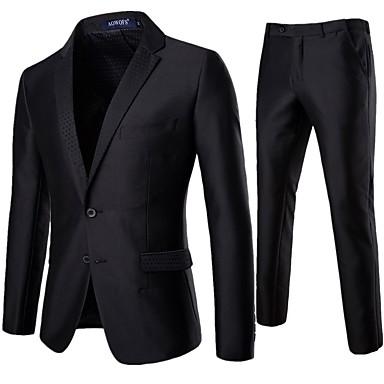 povoljno Gornji slojevi odjeće za muškarce-Muškarci odijela Klasični rever Poliester Crn