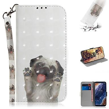 Недорогие Чехлы и кейсы для Nokia-Кейс для Назначение Nokia Nokia 9 PureView Кошелек / Бумажник для карт / Защита от удара Чехол С собакой Кожа PU