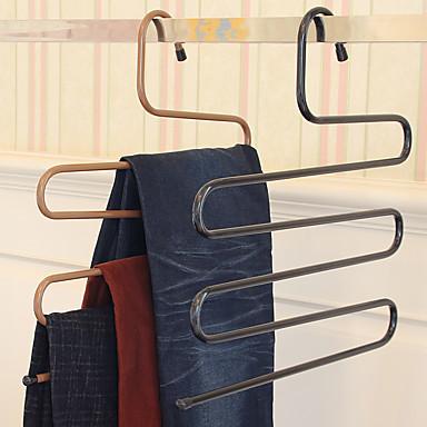 رخيصةأون خزانة الحمام و الغسيل-السحر السراويل رف الحديد s- نوع متعدد الطبقات السراويل شماعات تخزين خزانة