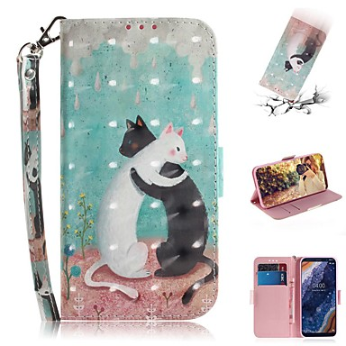 Недорогие Чехлы и кейсы для Nokia-Кейс для Назначение Nokia Nokia 9 PureView Кошелек / Бумажник для карт / Защита от удара Чехол Кот Кожа PU