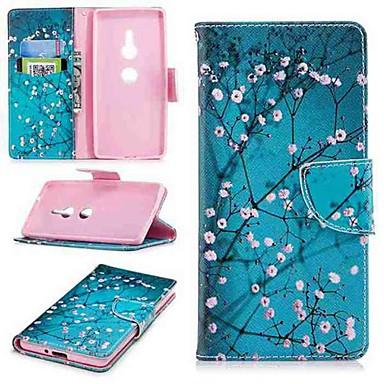 Недорогие Чехлы и кейсы для Sony-Кейс для Назначение Sony Sony Xperia 10 / Xperia XZ2 / Xperia XA2 Ultra Кошелек / Бумажник для карт / со стендом Чехол Цветы Твердый Кожа PU