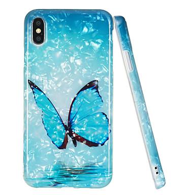 voordelige iPhone-hoesjes-hoesje Voor Apple iPhone XS / iPhone XR / iPhone XS Max IMD / Patroon Achterkant Vlinder / Marmer TPU