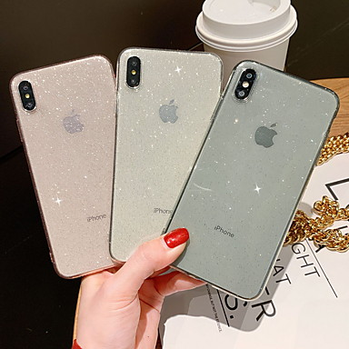 billiga iPhone 6 och Plus-fodral-fodral Till Apple iPhone XR / iPhone XS Max / iPhone X Glittrig Skal Glittrig Mjukt TPU