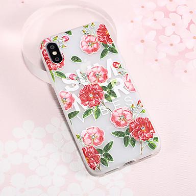 tanie Etui do iPhone 6-Kılıf Na Jabłko iPhone XS / iPhone XR / iPhone XS Max Kryształ górski / Wytłaczany wzór / Wzór Osłona tylna Kwiat TPU
