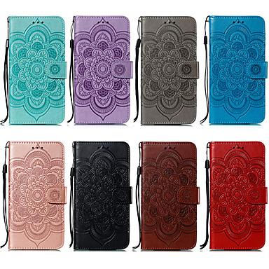 Недорогие Чехлы и кейсы для Xiaomi-Кейс для Назначение Xiaomi Xiaomi Redmi Note 6 / Xiaomi Redmi 6 Pro / Xiaomi Redmi 7 Кошелек / Бумажник для карт / со стендом Чехол Цветы Кожа PU