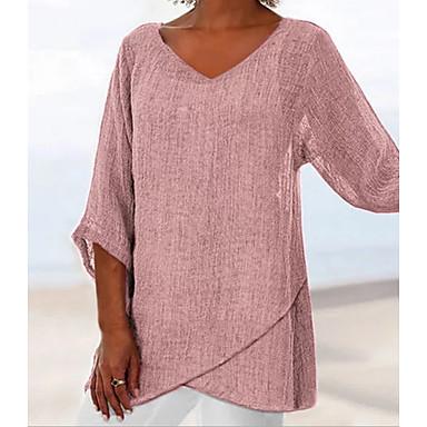 abordables Hauts pour Femme-Tee-shirt Femme, Couleur Pleine - Coton Col en V Ample Rose Poudré Rose Claire