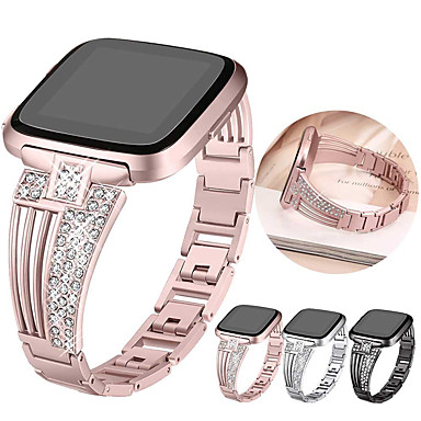 voordelige Smartwatch-accessoires-Horlogeband voor Fitbit Versa / Fitbit Versa Lite Fitbit Sportband / Klassieke gesp / Sieradenontwerp Roestvrij staal Polsband