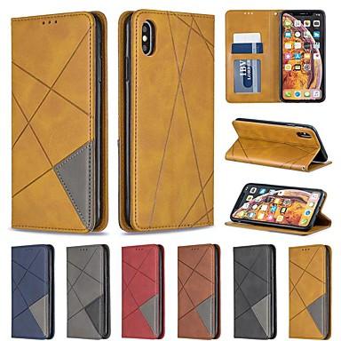 Недорогие Кейсы для iPhone X-чехол для яблока iphone xr / iphone xs max магнитный / флип / с подставкой для чехлов всего тела с геометрическим рисунком жесткая искусственная кожа для iphone 6/6 plus / 6s / 7/8 plus / xs / x
