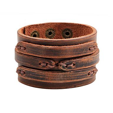 رخيصةأون أساور-نسائي الإسورة واسعة قديم نوع النسج شائع جلد أصلي مجوهرات سوار بني من أجل مناسب للبس اليومي