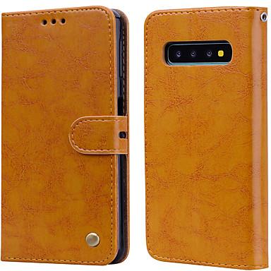 voordelige Galaxy S-serie hoesjes / covers-hoesje Voor Samsung Galaxy Galaxy S10 E Kaarthouder / Flip Volledig hoesje Effen Hard PU-nahka