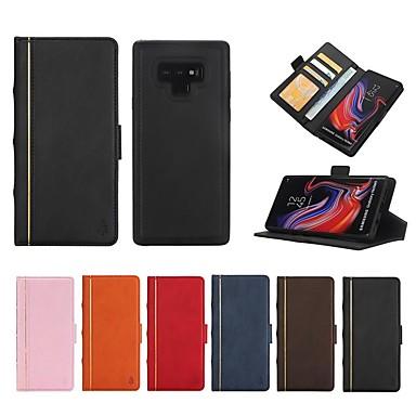 Недорогие Чехлы и кейсы для Galaxy Note-Кейс для Назначение SSamsung Galaxy Note 9 / Note 8 Кошелек / Бумажник для карт / Защита от удара Чехол Полосы / волосы Твердый Настоящая кожа