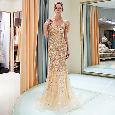 cheap Special Occasion Dresses-Mermaid / Trumpet V Neck Sweep / Brush Train Polyester / Tulle / Sequined Elegant & Luxurious / Sparkle & Shine Formal Evening Dress 2020 with