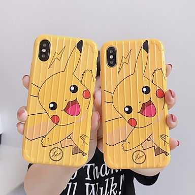 olcso iPhone 7 Plus tokok-Case Kompatibilitás Apple iPhone XS / iPhone XR / iPhone XS Max IMD / Minta Fekete tok Rajzfilm Puha TPU
