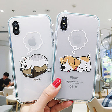 cheap iPhone Cases-Case For Apple iPhone 11 / iPhone 11 Pro / iPhone 11 Pro Max Shockproof / Transparent / Pattern Back Cover Playing with Apple Logo / Animal TPU