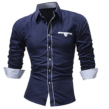 رخيصةأون قمصان رجالي-رجالي أناقة الشارع قميص, لون سادة