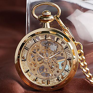 رخيصةأون ساعات الرجال-رجالي ساعة جيب داخل الساعة ميكانيكي يدوي ذهبي ساعة كاجوال طرد كبير مماثل كاجوال قادم جديد - ذهبي