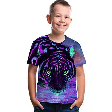 cheap Boys' 3D Clothing-Kids Toddler Boys' Active Basic Tiger Geometric Print 3D Print Short Sleeve Tee Purple / Animal