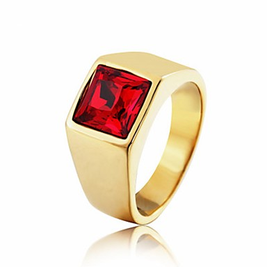 رخيصةأون خواتم-رجالي عصابة الفرقة خاتم 1PC أحمر أزرق أحمر داكن الصلب التيتانيوم دائري عتيق أساسي موضة مناسب للبس اليومي مجوهرات