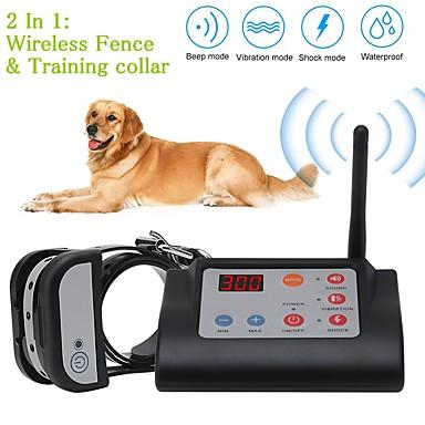 olcso Kutyák-2 az 1-ben vezeték nélküli elektromos kutyakerítés& kiképző nyakörv kutya kiképző nyakörvek vízálló újratölthető háziállattartó rendszer